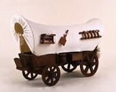 Hand Crafted Wooden Western Covered Wagon Model with Accessories Vintage