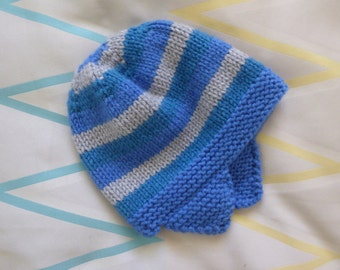 Child's wool blend earflap hat, blue, green and grey hat, hand knitted winter hat for 3 - 5 years