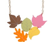Autumn Leaves Cluster necklace - laser cut frosted acrylic