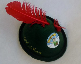 Vintage DISNEYLAND Peter Pan Party Costume Felt Hat with Feather * Halloween Hat Costume * Size Medium