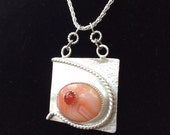 Stoned and Lassoed Peach Quartz and Carnelian Stacked Silver Handcrafted Pendant