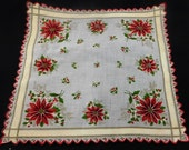 Reserved for Debbie Vintage Christmas Hankies with Poinsettia and Holly H205