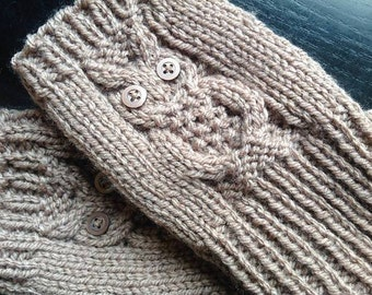 Owl Fingerless Mittens- Adult size - Can be customized
