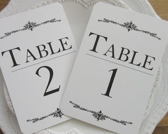 Table Number Cards, Wedding Table Numbers Modern Elegant Design #EL02. Available in two sizes.