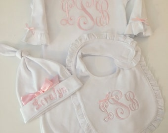 Newborn Girl Take Home -Outfit MonogramLayette Gown Baby Pink-Layette Gown and Personalized Hat New Baby Girl Gift