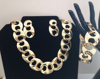 Vintage Chunky Goldtone Necklace Bracelet & Pierced Earrings ~ 80s Bling!