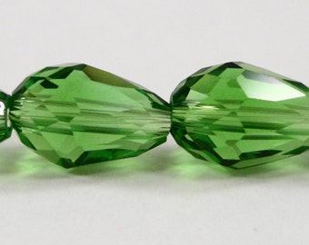 """Green Crystal Teardrop Beads 11x8mm (8x11mm) Green Crystal Beads, Chinese Crystal, Faceted Glass Drop Beads on a 6 3/4"""" Strand with 15 Beads"""