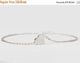 10% OFF SALE Mini Silver Heart Bracelet