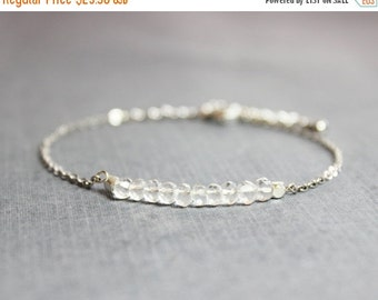 10% OFF SALE Rock Crystal Quartz and Silver Bracelet - Minimalist Jewelry - April Birthstone Bracelet