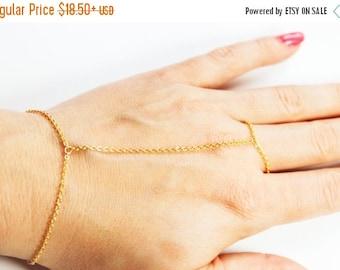 10% OFF SALE Simple Gold Hand Chain - Gold Slave Bracelet