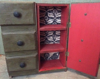Vintage Cabinet w Faux Apothocary Drawer Front Doors