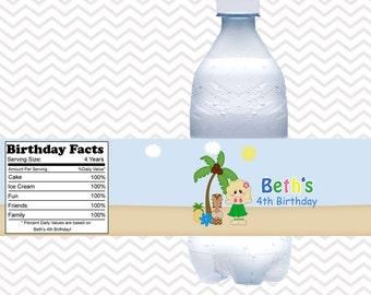 Luau Girl  - Personalized water bottle labels - Set of 5  Waterproof labels