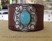 Chalcedony Cross Wide Leather Cuff Sterling Silver Cowgirl Boho Festival Bracelet Ready to Ship by ShesSoWitte