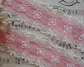"""1y Vintage USA 1 5/8"""" Schiffli Venise Lace Pink Insert Cotton Daisy Flower Embroidered Trim Doll Dress Crazy Quilt Ribbon Novelty Sewing"""