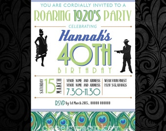 1920's Invitation 6x4 or 7x5, Printable,