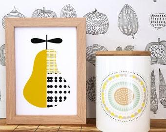 Modern nursery art, Kids room art print, modern wall art, nursery poster, pear art print, kitchen art, scandinavian print