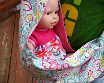 Baby Doll Sling Carrier Pink and Turquoise Spirited Aqua