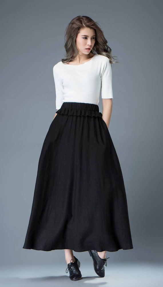 SKU: Categories: Skirts & Shorts, Maxi Dresses and Skirts, Skirts and Blouses, Tops and Bottoms Tags: Black Linen Skirt, Linen Clothing, Linen Skirt, linen skirt with belt, Long Linen Skirt, skirts .