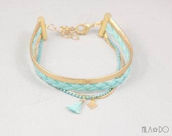 Nina bracelet in light turquoise and gold    Multi strand bracelet