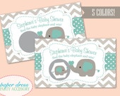 Personalized Baby Shower Elephant Chevron Scratch Off Game - Set of 20 - 5 COLORS