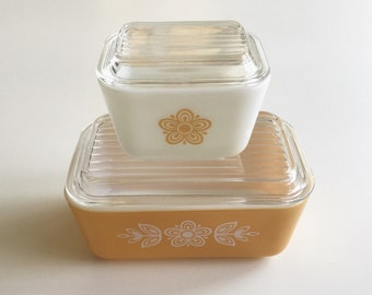 Vintage Pyrex Twin Butterfly Gold Refrigerator Set