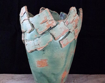 ChingWenArts Studio Pottery Handmade Stoneware Vase Pot, Patina Green and Brown , Signed, E041