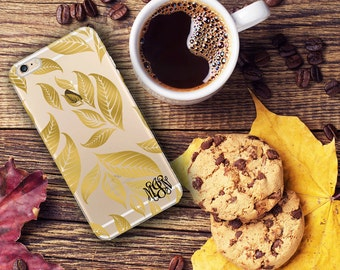 Gold Iphone 6s Plus case clear, Fall leaves Iphone 5s case clear, Fall fashion accessory, Birthday gift for women Gift under 20 (1593)