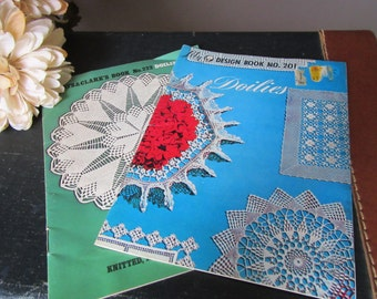 Vintage Pair Pattern Design Books Coats and Clark's 222 Doilies Knitted Tatted and Crocheted  Lily 201