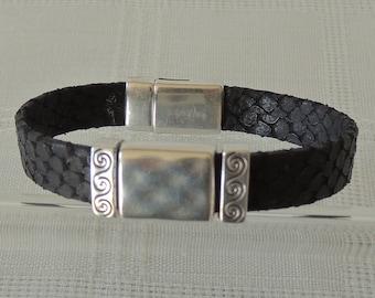 Black Faux Snake leather bracelet