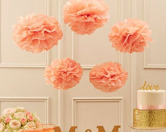 Pastel pink Tissue pom poms, wedding decor, birthday decor, baby shower, bridal shower, wiIll you be my,  bride and groom photo props