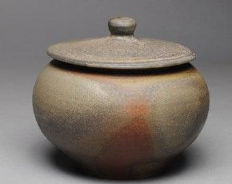 Wood Fired Sugar Bowl Jam Jar  Condiment Jar E61