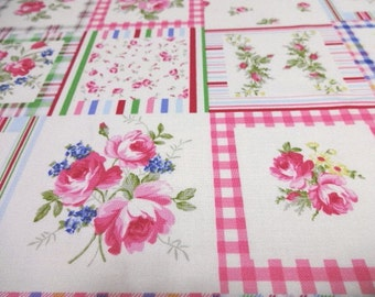 Japanese Fabric YUWA Flower Rose Patch FQ