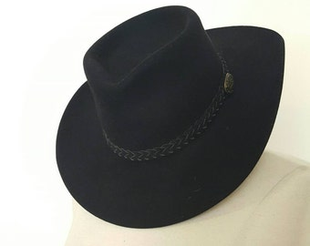 Vintage Genuine Black Leather Fur Felted Cowboy Hat
