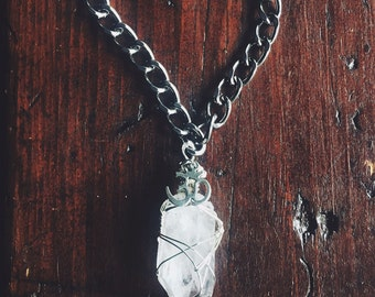 Large Beautiful Clear Quartz Crystal Point and OM Charm Manifestation Necklace - Reiki Infused - Angelic Connection