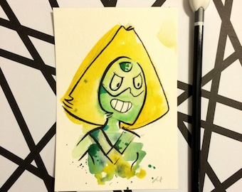 Paradot Steven Universe Wall Original Painting 4x6 inches, cartoon network inspired fan art drawing watercolor