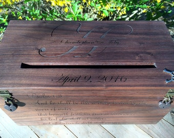 Wedding Card Box, Rustic Wedding, Wedding Gift, Card Box, Wedding Box, Rustic Card Box, Engraved, Personalized