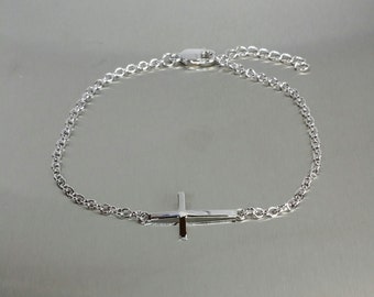 Sideways Cross Bracelet - Silver