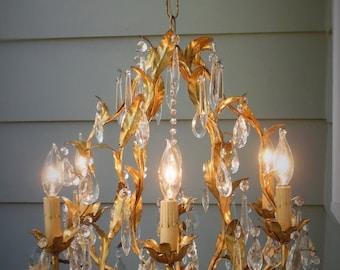 ON SALE Italian Tole Chandelier ~ Vintage Shabby Cottage Chic ORNATE Crystal Prisms ~ Old Hollywood Regency Gold Gilt Toleware Light