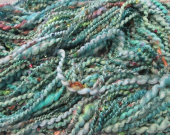 SANITY,  priced per 10 yards,  handspun, sequins, art yarn, thick/thin yarn, 2-ply, super bulky yarn, angelina fiber, homespun, sari silk,