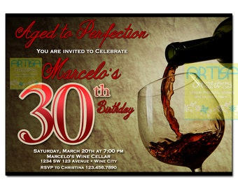 Wine Invitation, Wine Birthday Invitation ANY AGE, Aged to Perfection Invite, Wine Party Invitation, WIne Tasting Invitation, Adults Invite