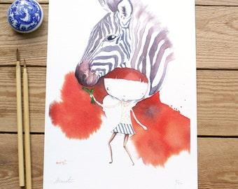 ART PRINTS// zebra animalario // illustration watercolor