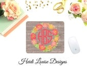 Watercolor Spring Flowers, Pink Peonies Mouse Pad, Wood Background - Desk Accessory