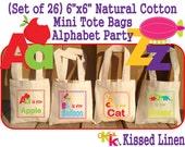 "Alphabet Letters Words Birthday Party Treat Favor Gift Bags Mini 6"" Natural Cotton Totes Children Kids School Preschool Kindergarten Class"