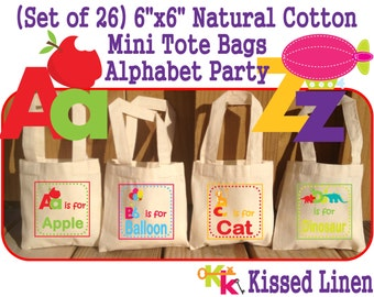 "Alphabet Letters Words Birthday Party Treat Favor Gift Bags Mini 6"" Natural Cotton Totes Children Kids School Preschool Kindergarten Class"
