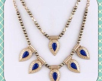Layered blue jeweled necklace