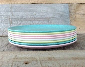 Melmac Plates Set Of 8 Daileyware Home Decorators Turquoise Yellow Pink and White Specked Melamine Lunch