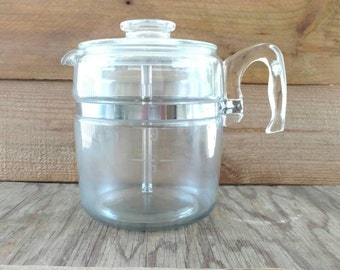 Pyrex Flameware Coffee Percolator Clear Glass and Stainless Steel 1952 9 Cup 7759 B Etched Numbers