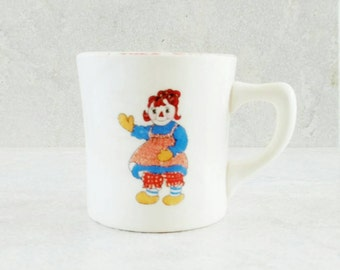 Raggedy Ann And Andy Mug Crooksville China  Johnny Gruelle Ivory Stoneware Cup Children's Feeding Cup