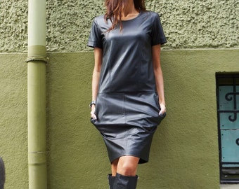 New Mini Elegant Leather Dress / Black Vegan Dress / Short Sleeves  Dress / Extravagant Short Dress / Party Dress  by AAKASHA A03508