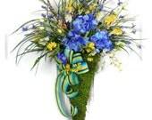 Wall Pocket, Front Door Wreath, Hydrangea Wreath, Floral Arrangement, Door Arrangement, Wildflower Wreath, Wedding Gift